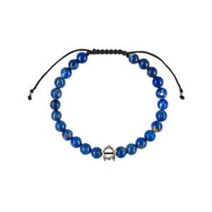 Bratara barbati cu pietre semipretioase lapis lazuli cu coronita este impletita manual si poate fi cadoul ideal pentru o zi aniversara sau onomastica.