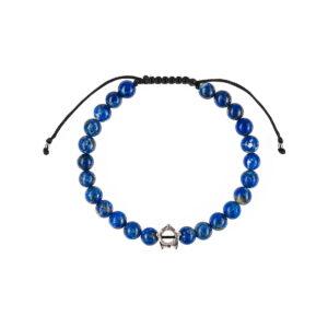 Bratara dama cu pietre semipretioase lapis lazuli cu coronita este impletita manual si poate fi cadoul ideal pentru o zi aniversara sau onomastica.